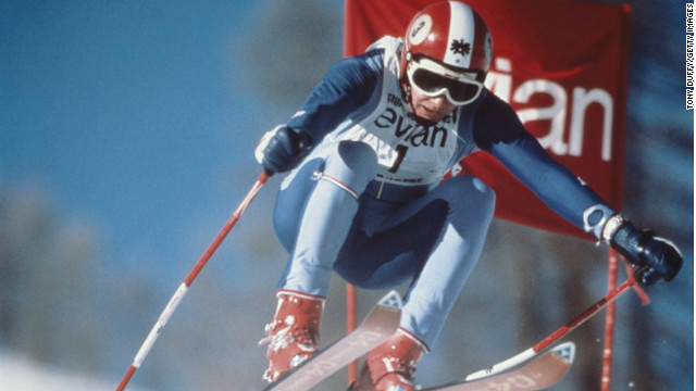 Franz Klammer of Austria skiing in the Men's Downhill event of the Alpine Skiing World Cup on 10th December 1977 in Val d'Isere, France.