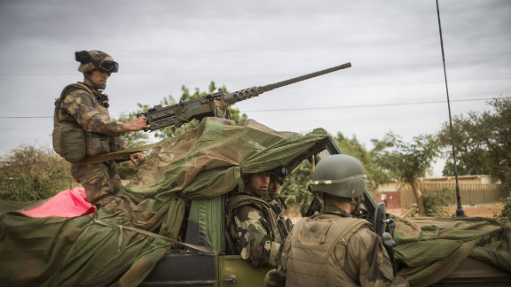 Members of the French army arrive at a base camp in Sevare, Mali, on January 25. French and Malian troops advanced on the key Islamist stronghold of Gao after recapturing the northern town of Hombori as the extremists bombed a strategic bridge to thwart a new front planned in the east.
