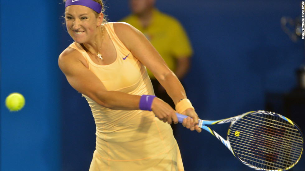 Belarus Azarenka hits a return during the women's final, which she won 4-6 6-4 6-3.