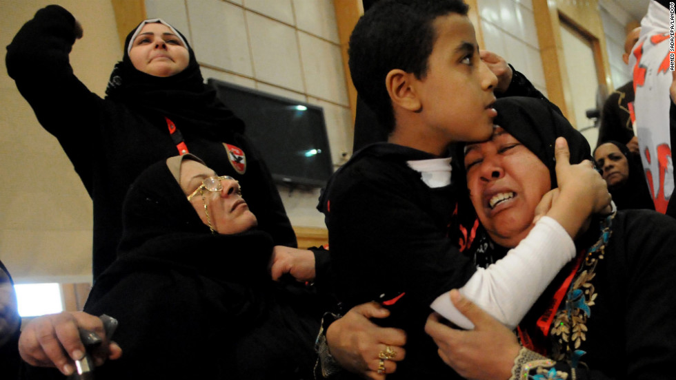 Relatives of victims killed during the 2012 Port Said soccer game react after the verdict of the court, at a courthouse in Cairo, on January 26.