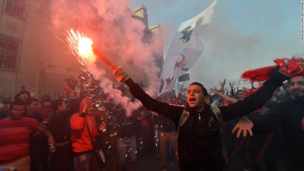 Al-Ahly football club supporters celebrate on January 26.