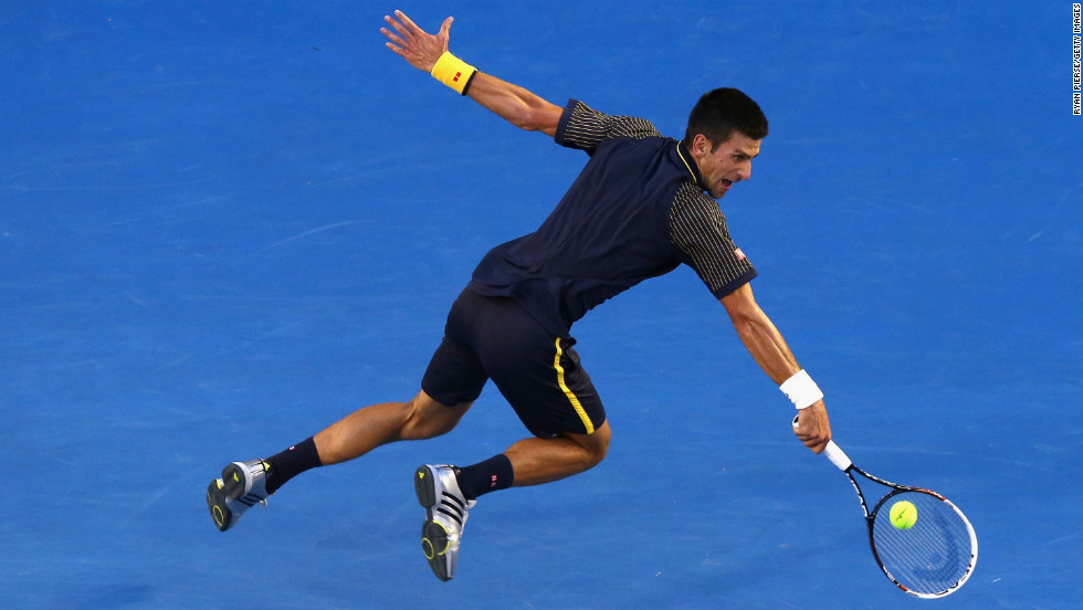 Djokovic plays a backhand on January 27.