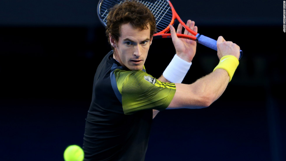 Murray plays a backhand against Djokovic on January 27.