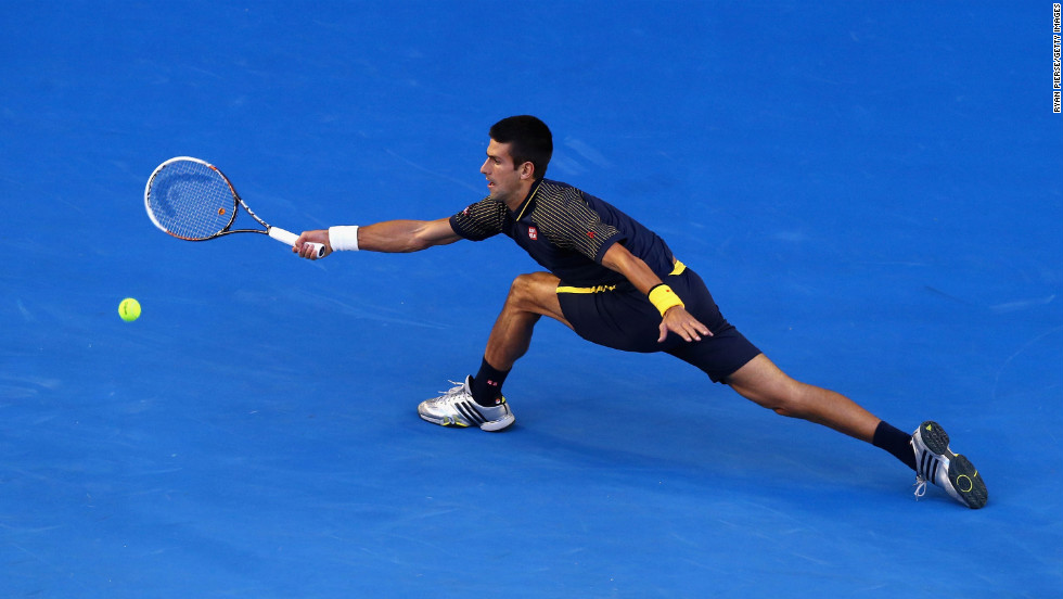 Djokovic plays a forehand on January 27.