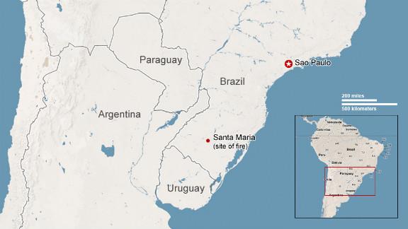 Map: Brazil nightclub fire