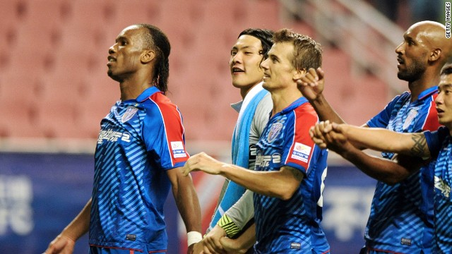Former Chelsea stars Didier Drogba (L) and Nicolas Anelka (2R) could both leave Shanghai Shenhua.