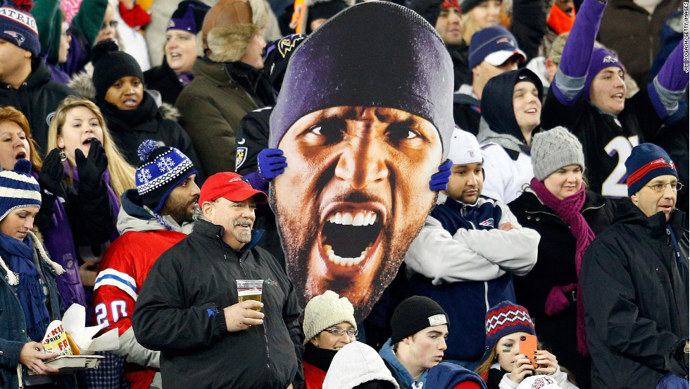 Baltimore Ravens fans display a huge depiction of star linebacker Ray Lewis. They will be hoping Lewis can lead the Ravens to glory at Super Bowl XLVII this weekend, when  their opponents will be the San Francisco 49ers.