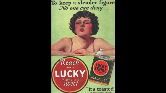 """1925: The Lucky Strike cigarette brand launches the """"Reach for a Lucky instead of a sweet"""" campaign, capitalizing on nicotine's appetite-suppressing superpowers."""