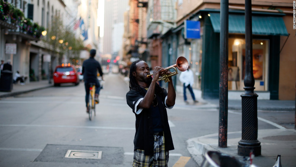 Mario Abney plays the trumpet on Bourbon Street in the French Quarter January 28.