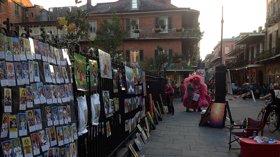 Artwork awaits Mardi Gras and Super Bowl visitors in the French Quarter.