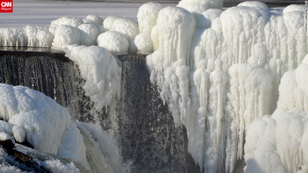 "Caroline Newby saw a news report about the <a href=""http://ireport.cnn.com/docs/DOC-917992"">frozen formations</a> on Paterson, New Jersey's Great Falls. She called her sister and told her, ""Get dressed warm, we are going to get some photos."" Newby says, ""I love, love, love winter photography and will dress like an eskimo to get good photos."""