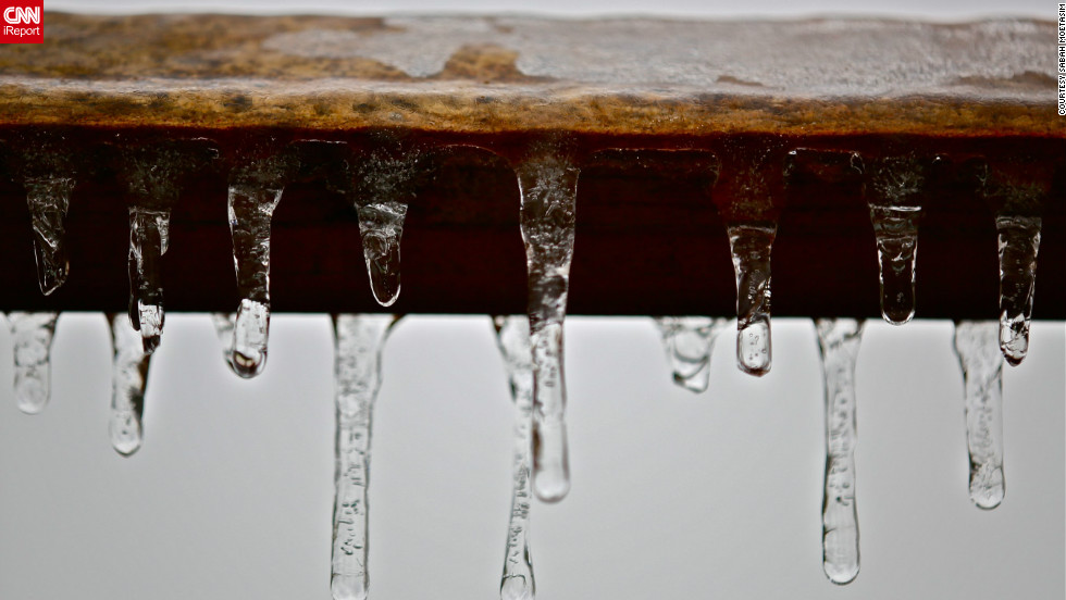 "Ice and snow are not very common in Knoxville, Tennessee, says Sabah Moetasim, so ""we tend to enjoy these situations and capture them in memories."" She used a macro lens to capture <a href=""http://ireport.cnn.com/docs/DOC-917820"">this shot of icicles</a> hanging off a backyard swing on January 25, the day a wintry mix of rain and snow hit the area.<br />"