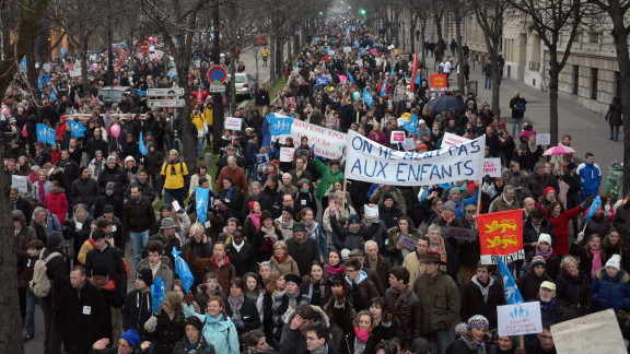 People take part in a protest against same-sex marriage on January 13, 2013 in Paris.