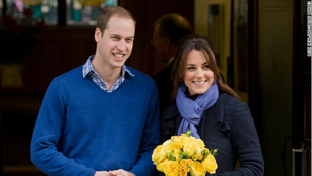 The Duke and Duchess of Cambridge leave a hospital where she was treated for acute morning sickness in January.