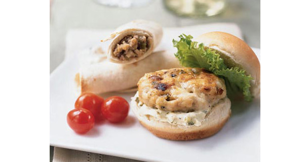 """Garlic powder, ground turkey and Gorgonzola cheese make these 169-calorie miniburgers the perfect protein-packed finger foods. <strong>Try this recipe:</strong> <a href=""""http://www.myrecipes.com/recipe/mini-turkey-burgers-with-gorgonzola-10000001545755/"""" target=""""_blank"""" target=""""_blank"""">Mini turkey burgers</a>"""