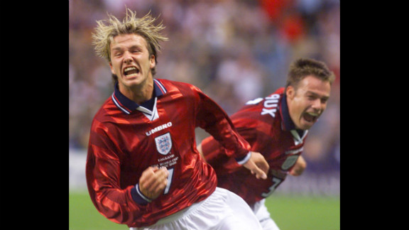 Beckham celebrates his goal against Colombia in the 1998 World Cup.
