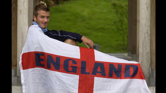 Beckham poses after a news conference in Awaji-shima Island, Japan, in 2002.