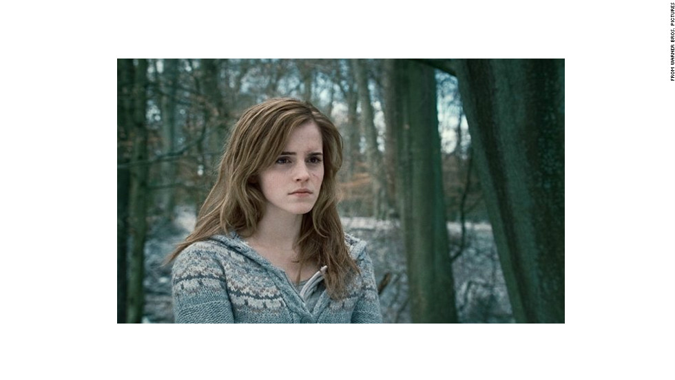 "Emma Watson plays Hermione Granger in the 2010 film adaptation of ""Harry Potter and the Deathly Hallows"" by J.K. Rowling."