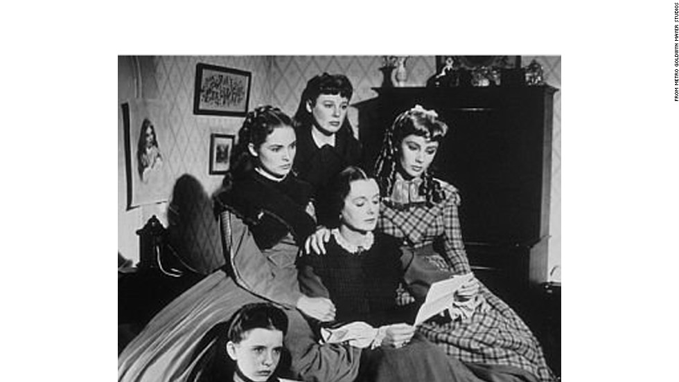 "A still from the 1949 film adaptation of Louisa May Alcott's ""Little Women."" From left to right: Janet Leigh as Meg March, June Allyson as Jo March, Elizabeth Taylor as Amy Marsh and Mary Astor as Marmee."