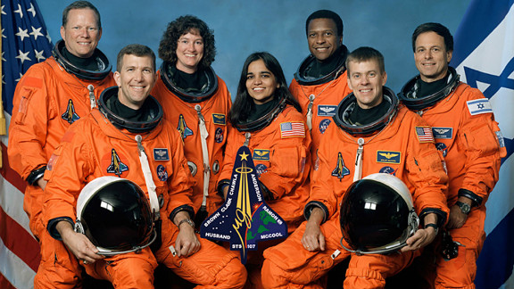 This undated NASA handout image obtained 26 August, 2003, shows the crew of the US space shuttle Columbia