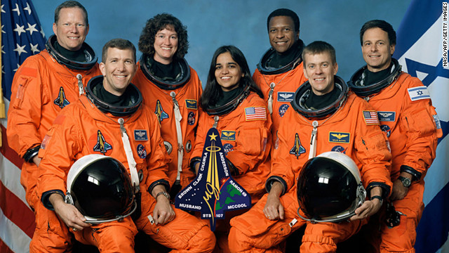This undated NASA handout image obtained 26 August, 2003 shows the crew of the US space shuttle Columbia's final flight, which crashed February 1, 2003.