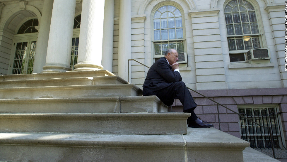 Koch rests on the steps of City Hall in May 2001. After leaving office, Koch practiced law, hosted a radio show, wrote a newspaper column and made countless TV cameo appearances.