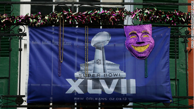 A Super Bowl flag is seen on Bourbon Street ahead of Super Bowl XLVII at Mercedes-Benz Superdome in New Orleans