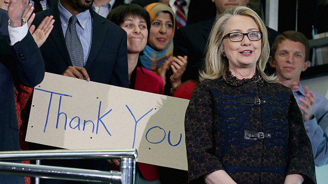 Hillary Clinton bids staff goodbye