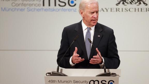 Vice President Joe Biden delivers his keynote speech on Saturday in Munich, Germany.