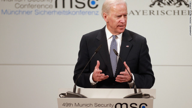 Vice President Joe Biden delivers his keynote speech on Saturday in Munich, Germany.