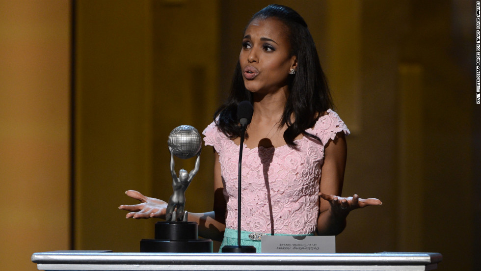 "Kerry Washington won awards for both Actress in a Drama Series (""Scandal"") and Supporting Actress in a Motion Picture (""Django Unchained"")."