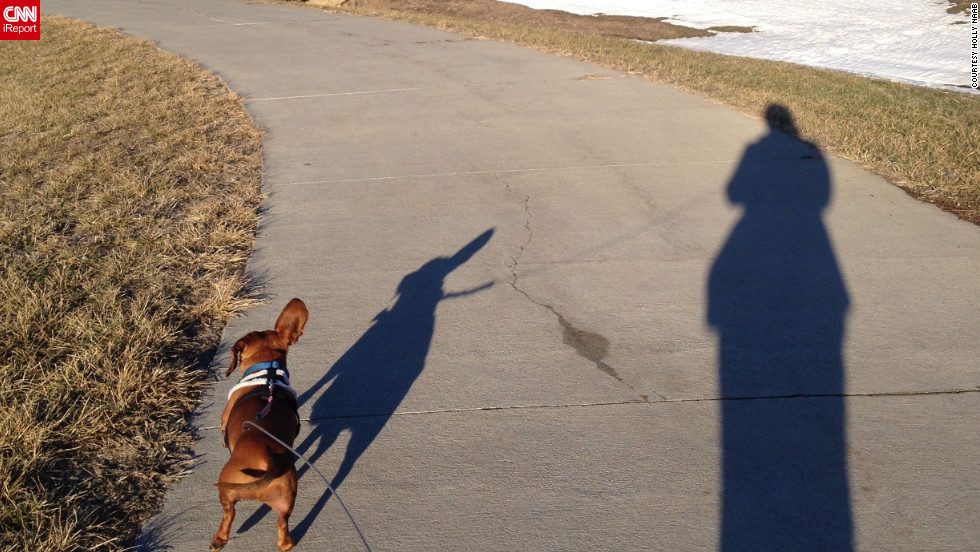 "<a href=""http://ireport.cnn.com/docs/DOC-919582"" target=""_blank"">iReporter Holly Naab</a> shot this photo of her and her puppy, Frank, at a park in Elkhorn, Nebraska. ""I'm hoping for an early spring, so Frank can get outside more,"" she said.<br />"