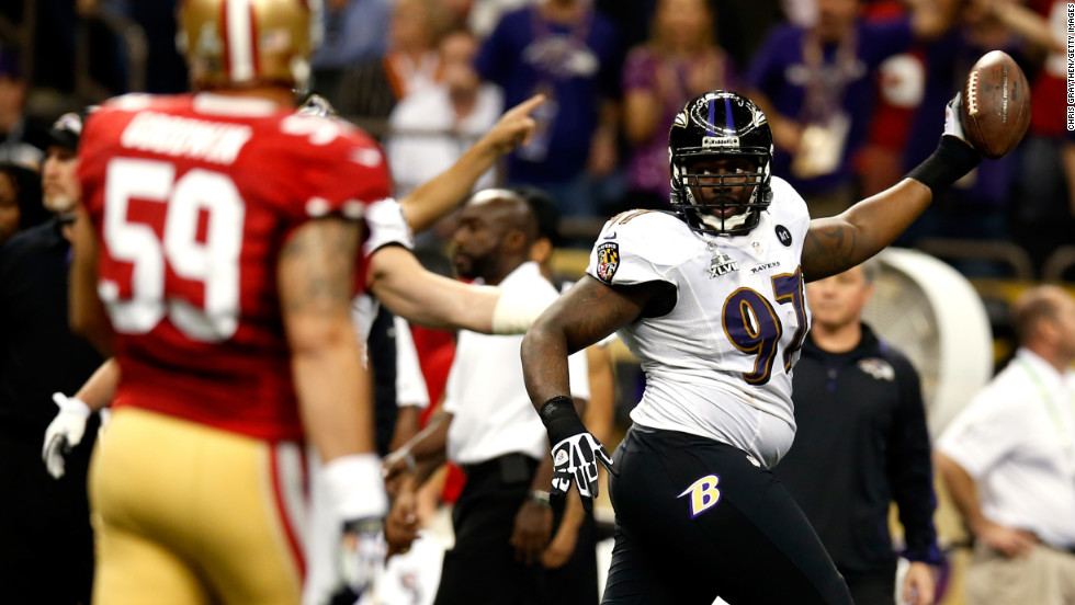 Arthur Jones of the Baltimore Ravens celebrates after recovering a fumble from LaMichael James of the San Francisco 49ers in the second quarter of Super Bowl XLVII.