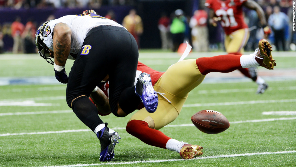 Tarell Brown of the San Francisco 49ers causes Ray Rice of the Baltimore Ravens to fumble in the third quarter; Brown recovered the fumble.