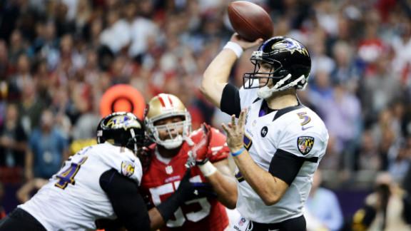 Ravens quarterback Joe Flacco throws a pass against the San Francisco 49ers during Super Bowl XLVII.
