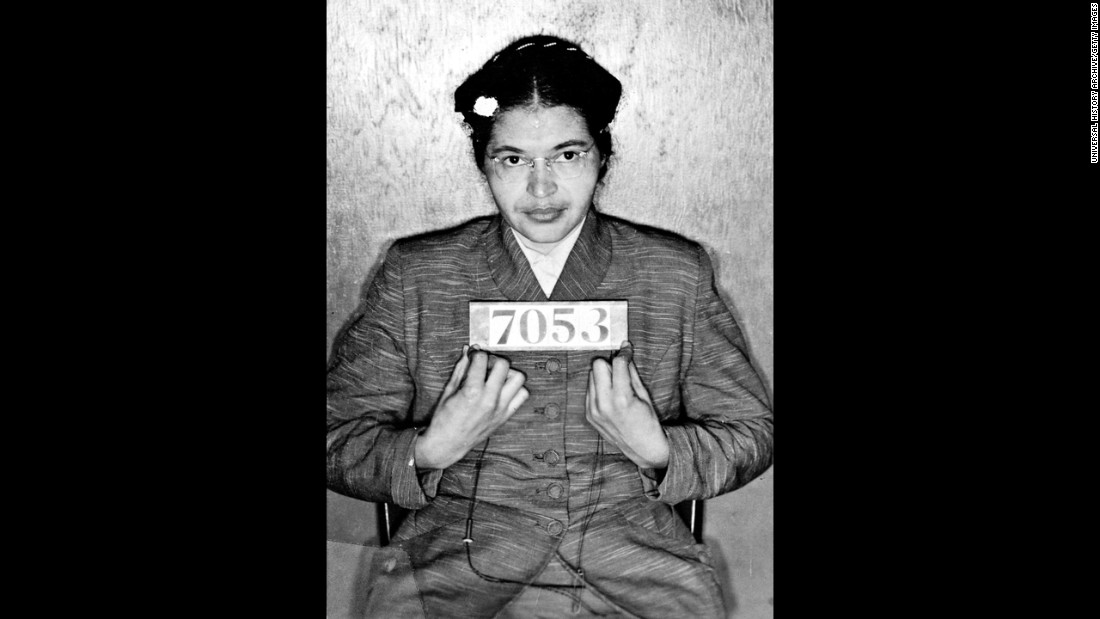 Parks' booking photo. Her activism and arrest served as a rallying point in the civil rights movement.