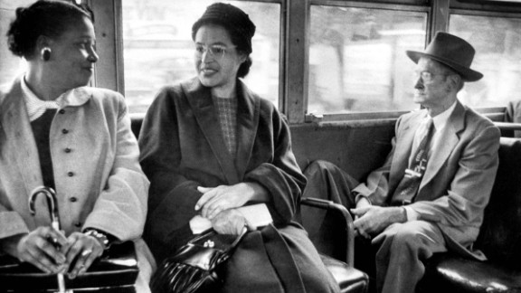 Parks rides on a newly integrated bus in 1956. It wasn