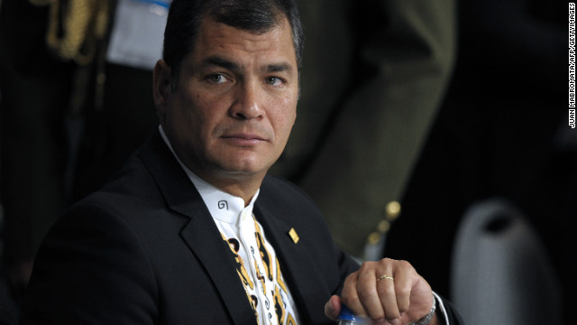 President Rafael Correa during the plenary of the XLIII Mercosur presidential summit in Mendoza, Argentina, June 29, 2012.