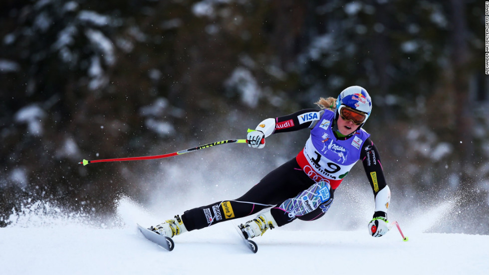 Vonn skis before crashing while competing on February 5.