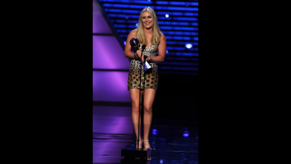 Vonn accepts the award for Best Female Athlete onstage at The 2011 ESPY Awards on July 13, 2011, in Los Angeles.