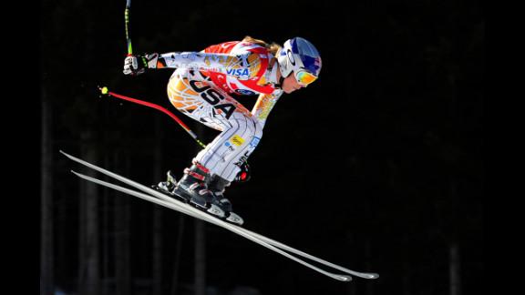 Vonn makes a jump during the FIS World Cup women