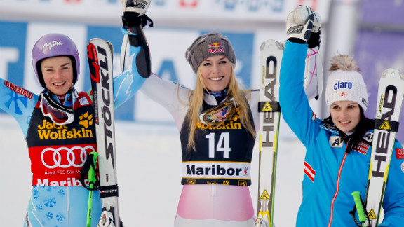 From left, Tina Maze of Slovenia who came in second, Vonn who took first, and Anna Fenninger of Austria who took third celebrate after the Audi FIS Alpine Ski World Cup for women