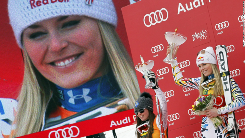 Vonn shows her first-place trophy during the Audi FIS Alpine Ski World Cup for the women's super-G on February 26, 2012, in Bansko, Bulgaria.