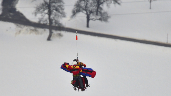Vonn is airlifted on February 5.