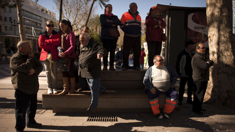 Sanitation workers stage a protest in Seville on February  4.