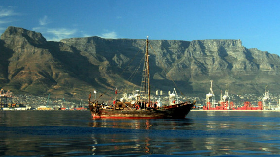 The replica boat is seen here arriving in Cape Town, South Africa. The crew battled everything from six-meter waves to pirates during the incredible journey.