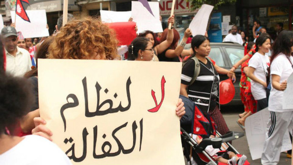 Migrant workers march in the streets of Beirut to protest racism in Lebanese society. Lebanon has about 200,000 migrant domestic workers, hailing from mostly African and Asian countries.