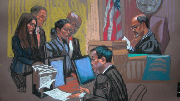 Federal Bureau of Prisons officer Nancy Gonzalez, 29, is seen in a courtrooom sketch.