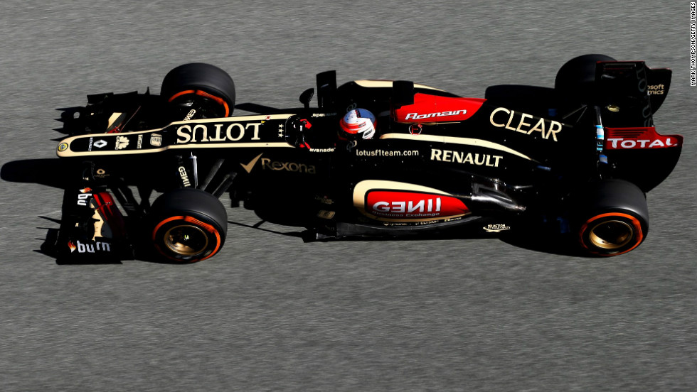 Romain Grosjean was third-fastest on the opening day in Jerez for Lotus, which was the first team to launch its new car -- the E21 -- on January 28.