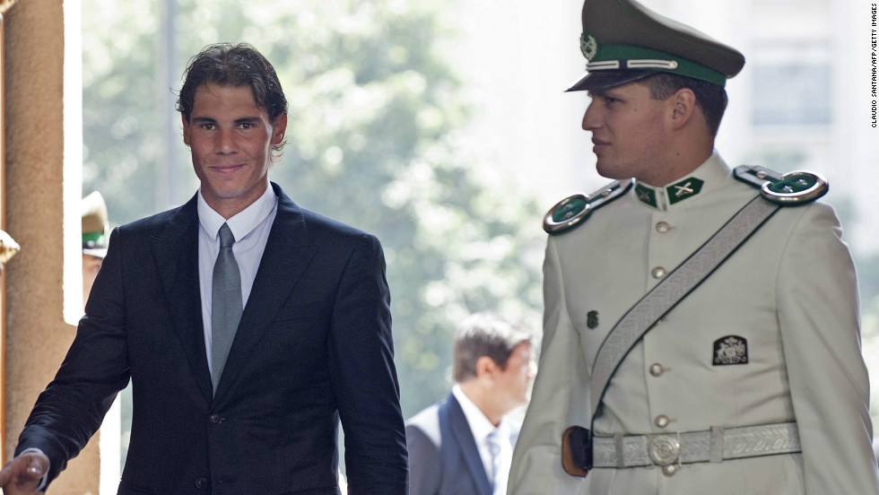 Nadal arrives at La Moneda presidential palace in Santiago on February 1.